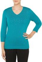 Allison Daley Embellished V-Neck 3/4 Sleeve Pullover