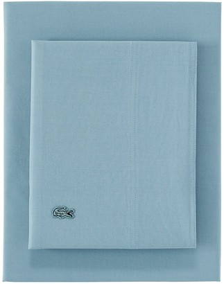 Lacoste Twin Washed Percale Sheet Set - Light Blue