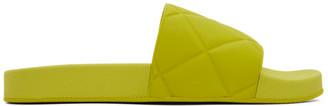 Bottega Veneta Green Intrecciato Flat Slides