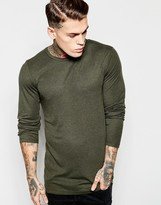 Asos Longline Muscle Long Sleeve T-Shirt With Raw Edge