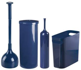 mDesign 4 Piece Trash Can, Toilet Brush/Plunger, Tissue Canister Set, Navy Blue