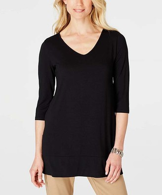 J. Jill J.Jill Women's Tunics BLACK - Black Elliptical Wrinkle-Free V-Neck Tunic - Women