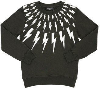 Neil Barrett Thunder Print Cotton Sweatshirt