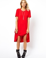 ASOS Swing Dress With Dipped Hem And Pleated Back - Dark red