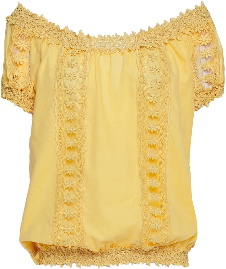 Charo Ruiz Ibiza Maca Off-the-shoulder Crocheted Lace-paneled Cotton-blend Voile Top