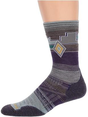 Smartwool PhD Outdoor Light Pattern Crew (Mountain Purple) Women's Crew Cut Socks Shoes