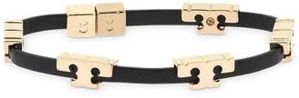 Tory Burch Serif Single Wrap Logo Leather Bracelet