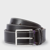 Paul Smith Men's Black Leather 'Mini Graphic Edge' Belt