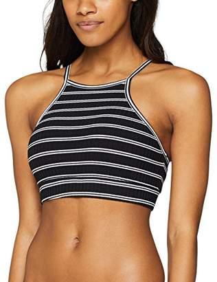 Seafolly Women's Inka Stripe Crop Top Bikini Black, (Size of :Small)
