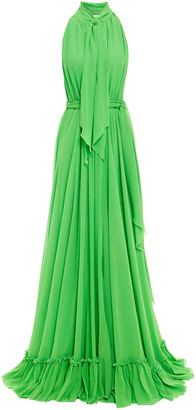 Dundas Open-back Tie-neck Silk-georgette Gown