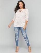 Lane Bryant Super Soft Super Stretch Skinny Jean - Floral Embroidery