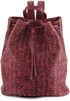 Neiman Marcus Basket-Woven Drawstring Bucket Backpack, Burgundy