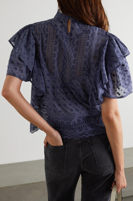 Etoile Isabel Marant Tizaina Ruffled Broderie Anglaise Cotton Blouse - Gray