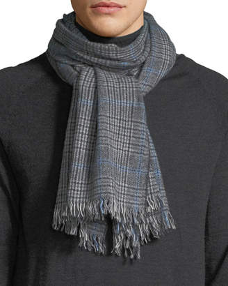 Neiman Marcus Men's Glen Plaid Cashmere Scarf