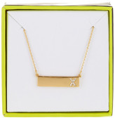 BaubleBar 14K Gold Plated Ice &X& Initial Bar Pendant Necklace