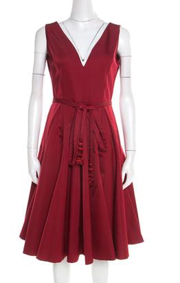 Christian Dior Red Wool and Silk V Neck Tassel Belt Detail Sleeveless Flared Dress M