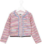 Karl Lagerfeld bouclé knit jacket - kids - Cotton/Polyester/Wool/metal - 4 yrs