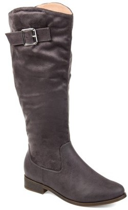 Brinley Co. Comfort by Womens Extra Wide Calf Two-tone Riding Boot