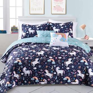Lush Decor Unicorn Rainbow Heart Kids Reversible Quilt Set, Multiple Colors