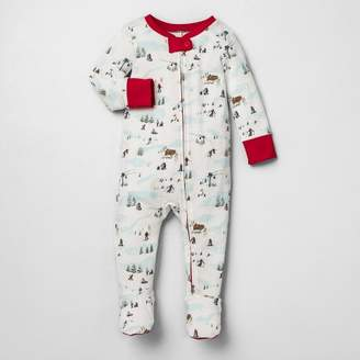 N. Hearth & Hand with Magnolia Baby Holiday Bodysuit Footed Ski Scene Pajamas - Hearth & HandTM with Magnolia