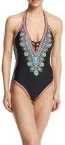 Trina Turk Dashiki V-Neck Printed One-Piece Swimsuit