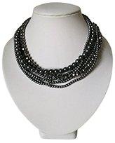 CATHERINE JEWELRY PLAZA Strand Faux Pearl Glass Crystal Beads Necklace, Dark Gray