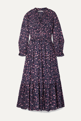 Etoile Isabel Marant Likoya Ruffled Floral-print Cotton-voile Maxi Dress - Blue