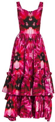 Alexander McQueen Orchid Print Ruffled Midi Dress