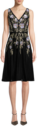 Aidan Mattox V-Neck 3D Floral Embroidered Velvet Dress w/ Pockets