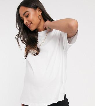 Asos DESIGN Maternity high neck short sleeve t-shirt in white
