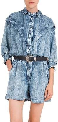 The Kooples Pleated & Faded Button-Front Romper