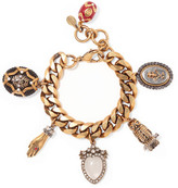Alexander McQueen Gold-plated, Crystal And Faux Pearl Charm Bracelet - one size