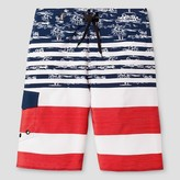 No Fear Boys' Americana Floral Boardshort Blue/White/Red