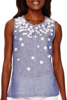 Liz Claiborne Sleeveless Floral Appliqu Shell - Tall