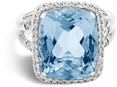 John Hardy Sterling Silver Batu Classic Chain Ring with Blue Topaz and Diamonds