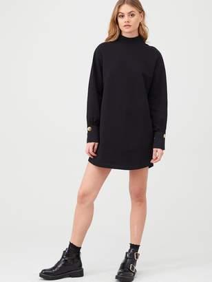 River Island Button Cuff Jersey Sweater Dress - Black