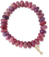 Sydney Evan Beaded Ruby Bracelet with Diamond Love Charm