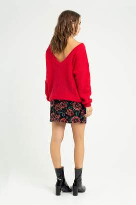 La Petite Francaise Parallelle knit sweater with back V red - T1 | wool | red - Red/Red