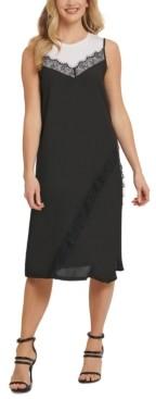 DKNY Mixed-Media Sleeveless Dress