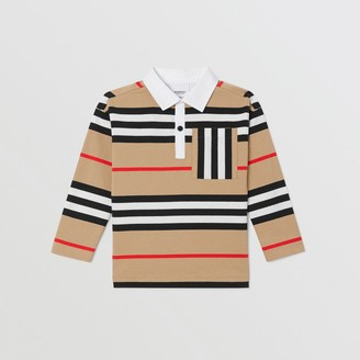 Burberry Childrens Long-sleeve Icon Stripe Cotton Top