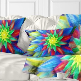 East Urban Home Floral Dance of Bright Flower Lumbar Pillow Color: Blue