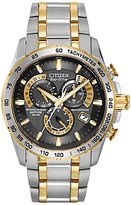 Citizen At4004-52e Radio Controlled Eco-drive Chronograph Two Tone Bracelet Strap Watch, Silver/gold