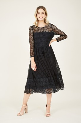 Yumi Black Lace Skater Dress