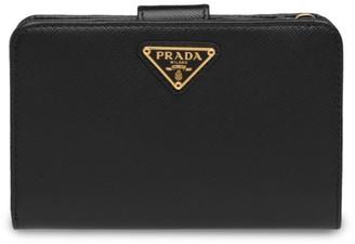Prada Medium Saffiano Leather Tab Wallet