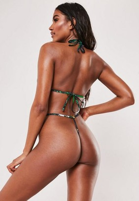 Missguided x Green Tropical Print G String Bikini Bottoms