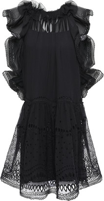 Alberta Ferretti Broderie Anglaise-paneled Cotton-blend Georgette Mini Dress