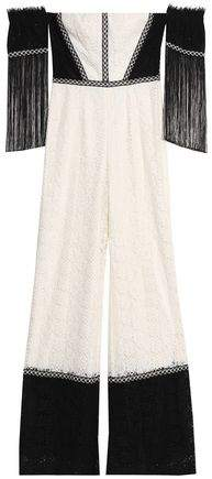 Alexis Off-The-Shoulder Fringed Two-Tone Corded Lace Jumpsuit