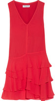 Opening Ceremony Mercer Ruffled Crinkled Silk-chiffon Mini Dress - Red