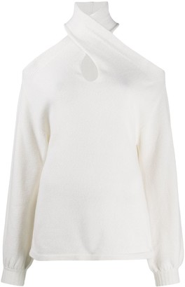 FEDERICA TOSI Wool Crossover-Neck Jumper