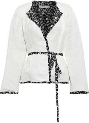 Etro Belted Linen And Silk-blend Floral-jacquard Jacket